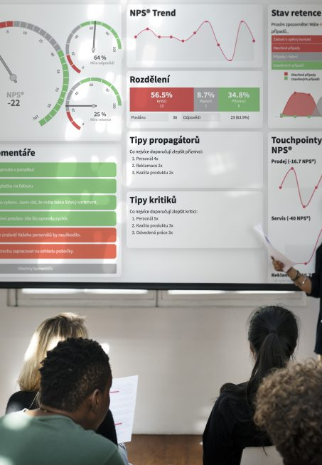 Student doing a presentation using a projector screen mockup